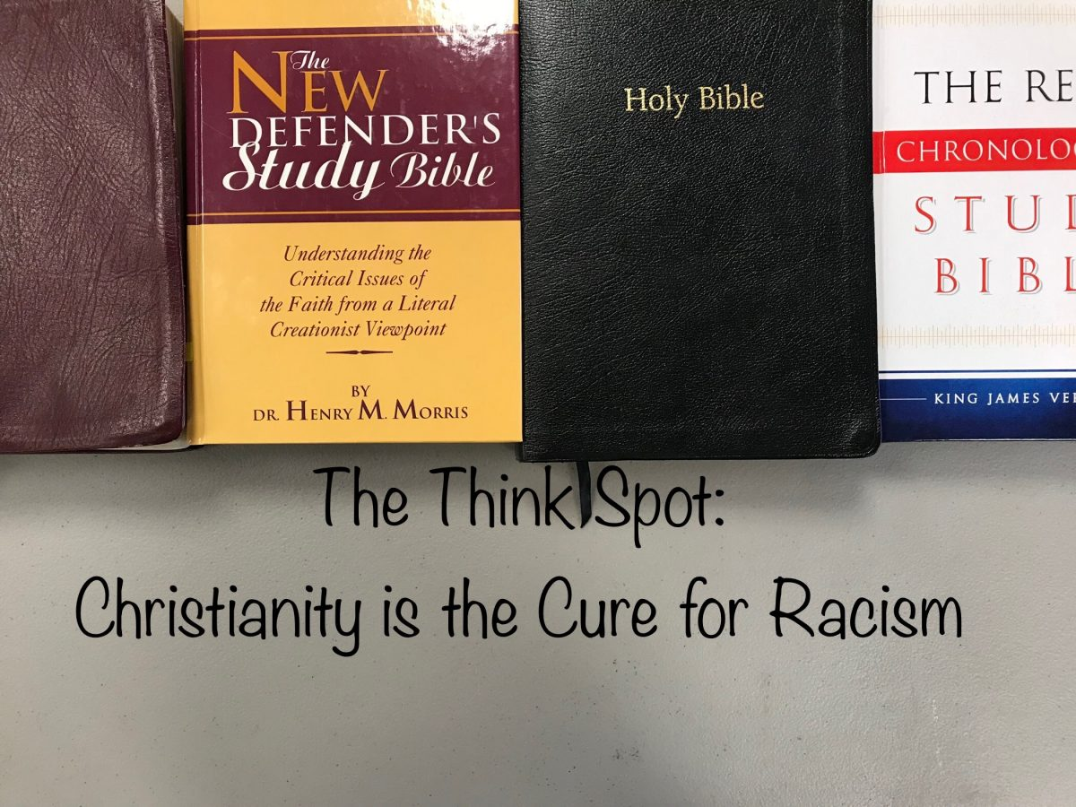 Photo of four of Pastor Bo Wagner's Bibles, red and yellow black and white