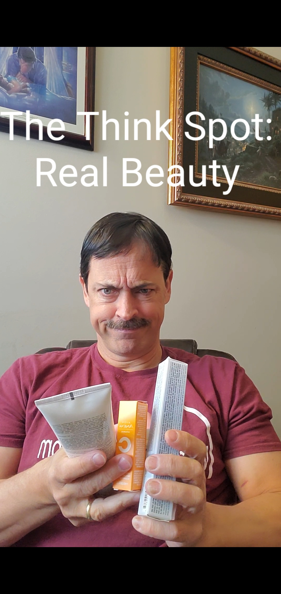 Photo of Pastor Bo Wagner holding Avon products and looking perplexed