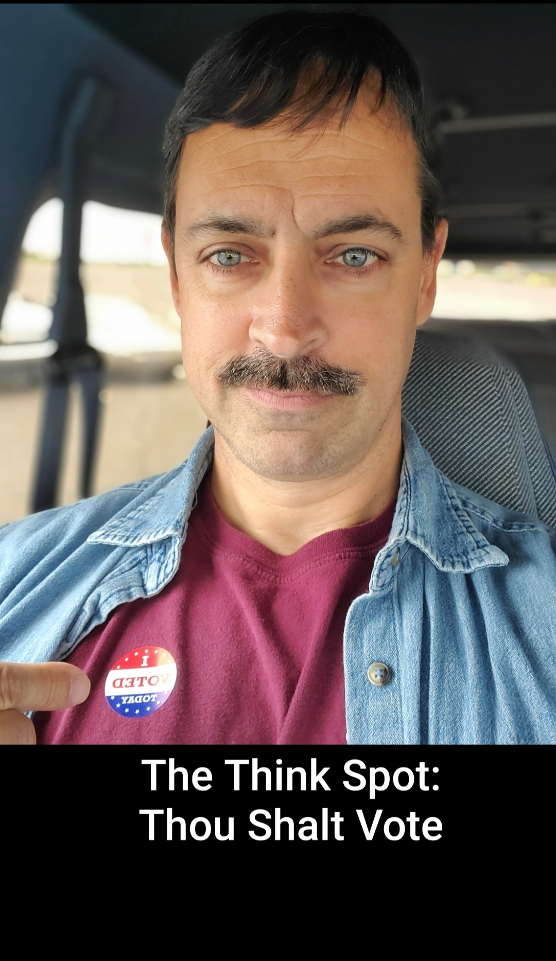 "Photo of Pastor Bo Wagner with an ""I voted"" sticker"