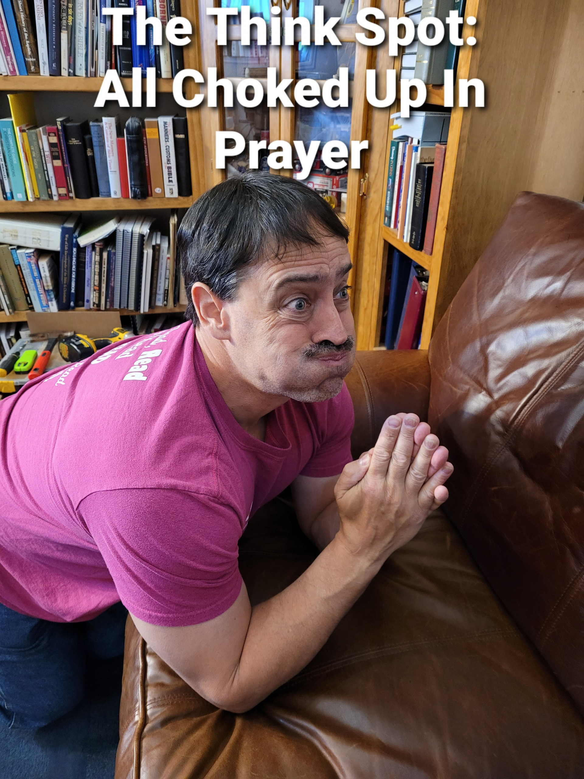Picture of Pastor Bo Wagner holding his breath in prayer